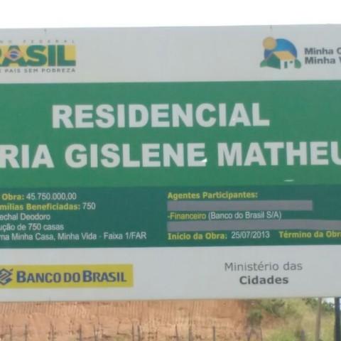 Placa do Conjunto Gislene Matheus